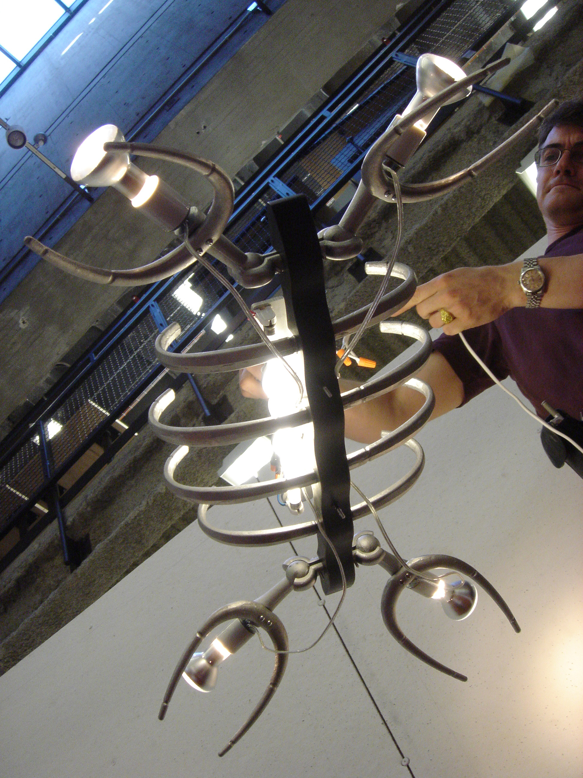 Plesiosaur light fixture, first assembly (2005)