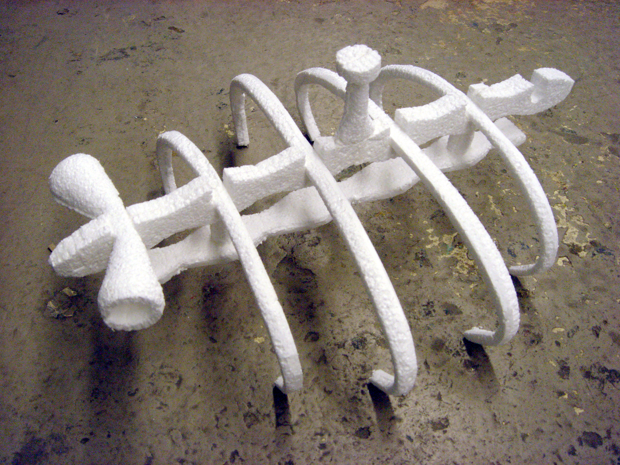 Plesiosaur light fixture, v.1, foam model (2005)