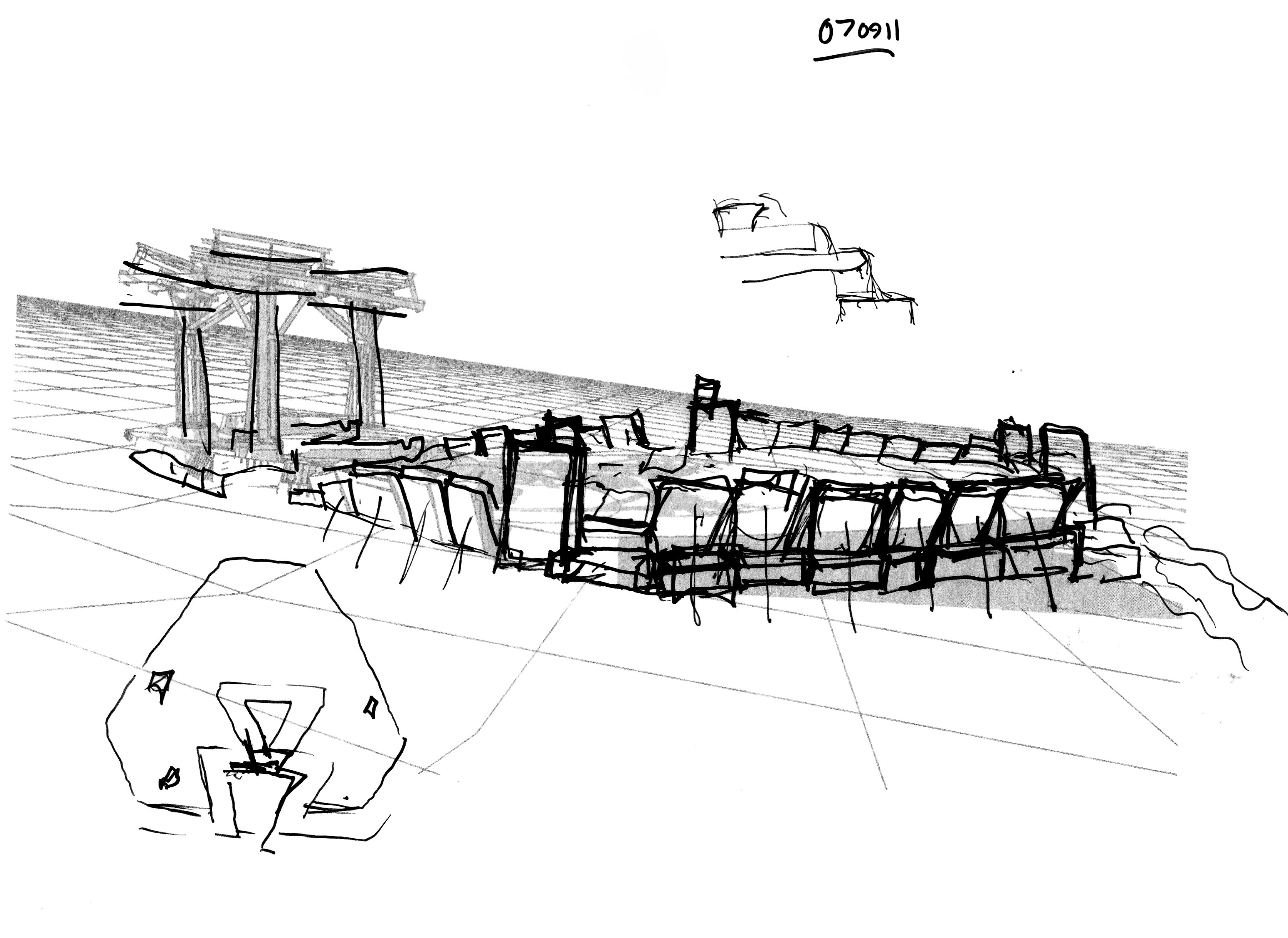 Future Monument (2009) rhombus pool sketch perspective